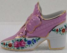 """Vintage Porcelain Miniature Shoe Purple Gold Gilt Guild 3 X 2 """" Victorian Shoe ATCTTEAM"""
