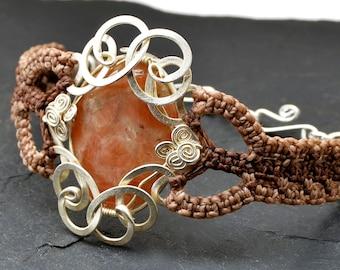 Orange Bracelet, Macrame Bracelet, Boho Bracelet, Gemstone Bracelet, Micro Macrame, Cuff Bracelet, Wire Wrap Stone, Boho Chic Jewelry