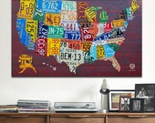 License Plate Map of the USA Metal PRINT