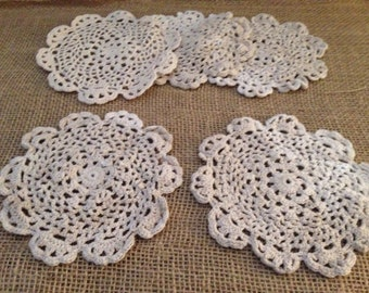 Aged Homemade Cotton Round Doilies