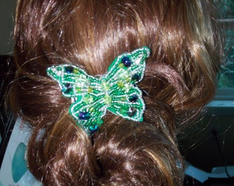 Green Butterfly Beaded Hair Clip