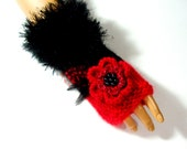 Hand Knit Black And Red Gloves, Mitten,Half Finger,  Armwarmer, Fall Fashion, Winter Accessories, Women Fingerless, Holiday Accessories