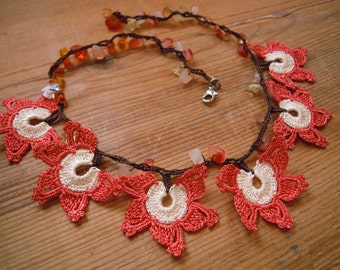 short oya necklace, orange white crochet flower