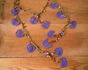 lariat necklace, purple green lariat