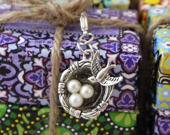 Bird's Nest with Bird Charm Silver-tone for Bookmark Keychain Necklace Bracelet by Kristin Victoria Designs