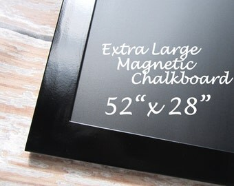 "LARGE Black FRAMED CHALKBOARD For Sale 52""x28"" Modern Framed Magnet Board Kitchen Black board Home Organizer Modern Kitchen Decor Chalkboard"