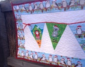 Aussie christmas bunting flags red, blue, green, white, and yellow wall hanging or table runner