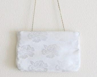 Vintage White Rose Brocade Satin Purse / Wedding Bridal Formal Clutch Handbag