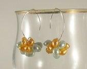 Pearl Dangle Earrings, Cluster Dangle Earrings, Sterling Silver Earrings, Beach Season, Handmade Jewelry, Made In The USA