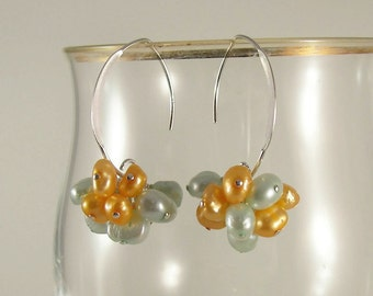 Pearl Dangle Earrings, Cluster Dangle Earrings, Sterling Silver Earrings, Beach Season, Handmade Jewelry, Made In The USA