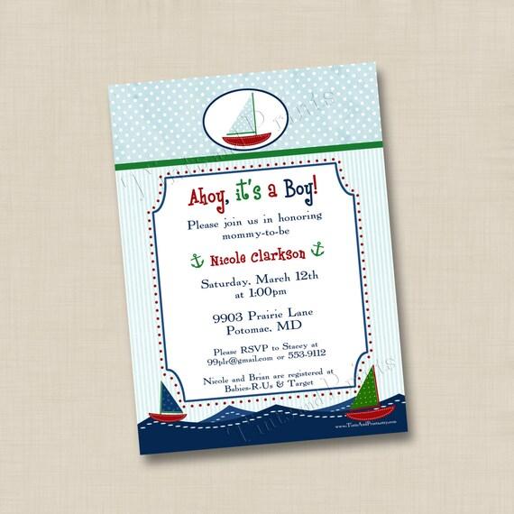 Ahoy, It's a Boy Custom Baby Shower Invitation or Birthday Party Invitation Design