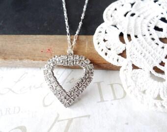 CAROLINE vintage rhinestone heart pendant necklace B22 | repurposed | vintage | sterling silver