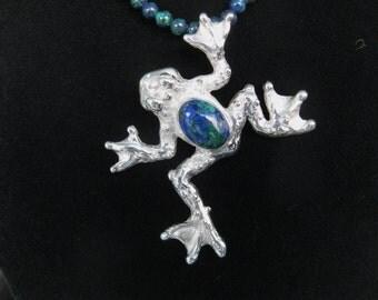 Frog Pendant with Azurite