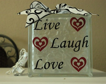 Live Laugh Love DIY decal for glass block