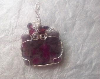 Pendant,Garnets,Ruby Moonstone gemstone in Sterling silver wire,wirewrapped gemstone in silver,heart shaped Garnets and gemstone pendant