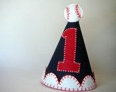 Boy's Birthday Party Hat--Navy with Baseball--Custom Made