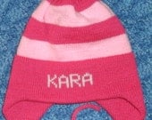 Knit hat with stripes in any size and colors