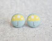 Yellow Umbrella Fabric Button Earrings