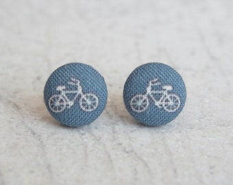 Tiny Navy Bikes Fabric Button Earrings
