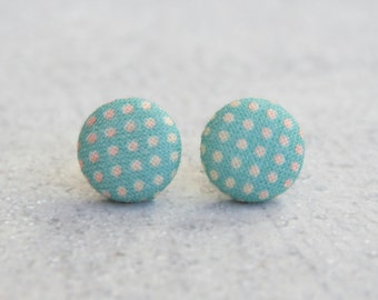 Tropical Dots Fabric Button Earrings
