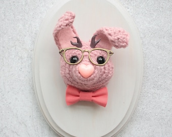 Faux Taxidermy Pink Hipster Nerd Jackalope