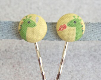 Dragons, Fabric Covered Button Bobby Pin Pair