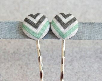 Black White and Teal Chevrons, Fabric Covered Button Bobby Pin Pair