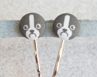 Boston Terrier Fabric Covered Button Bobby Pin Pair