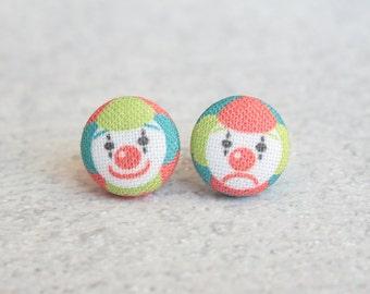 Clown Fabric Button Earrings
