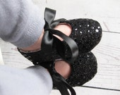 Girls black sequin shoes baby shoes black sequin Christmas baby shoes toddler shoes soft sole shoes fabric baby shoes - Joy Black