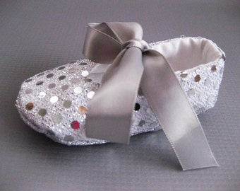 Baby girl shoes silver sequin baby shoes silver Christmas shoes handmade toddler shoes baby bling glitter fabric shoes - Joy Silver