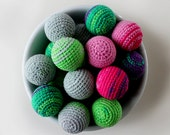 Crochet Balls - Ornament - Crocheted Ball - Cat Toy - Crochet Applique - Colorful Balls - Pet Toys- Baby Teething