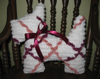 Handmade Vintage Chenille Plaid Doggie Pillow