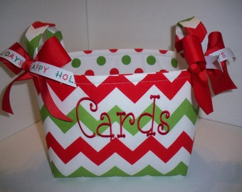 Christmas Chevron Polka Dot Fabric Basket / Organizer Bin / Gift Bag