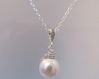 Swarovski Crystal Pearl Necklace, Pearl Necklace, Bride Necklace, Bridesmaid Necklace, Crystal Necklace, Sterling Silver, Wedding Jewelry