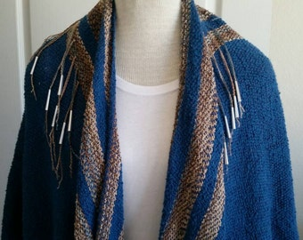 Vintage beaded boho batwing fringe cocoon southwest sweater poncho with conchos