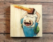 """Adventure Time's """"Trouble Will Find Me"""" Finn 5"""" x 5"""" Print on Wood Block"""