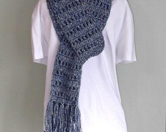 Steel Blue Open Weave Scarf