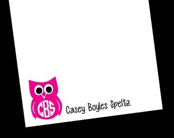 Personalized Owl Monogram Notepads - Monogram Gift ~ 3 sizes