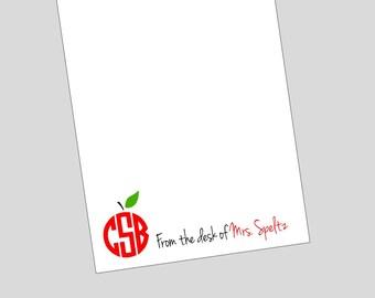Personalized Teacher Monogram Apple Notepad ~ Teacher Gift ~ 3 sizes