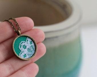 Tiny Pendant, Cute, Small Charm Necklace, Green Pendant, Lace Pendant, Emerald Green Jewelry, Lace Jewelry, Unique Jewelry for Women, Mini