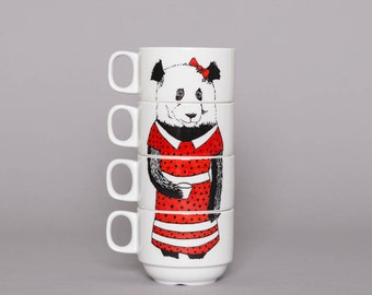 Set of 4 Coffee cups - Miss Panda