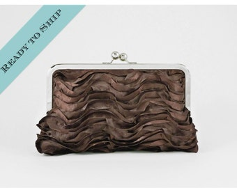 COUTURE Rouged Satin Clutch in Chocolate - Ready to Ship