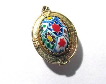 Murano Millefiori Pendant Watch Case VINTAGE Glass Cabochon Small Gold Watch Case Venetian Glass Jewelry Watch Art Supply (D37)