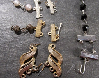 Assorted Clasps Five (5) Sets Assorted Clasps VINTAGE Beads Pearls Broken Clasps Jewelry Supplies Vintage Jewelry Supply Destash (R4)