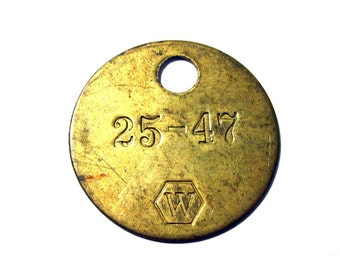 Brass Number Tag Tool TAG Number 25-47 W VINTAGE Scrapbook Altered Art Assemblage Mixed Media Art Jewelry Supplies Brass Tool Tag (R33)