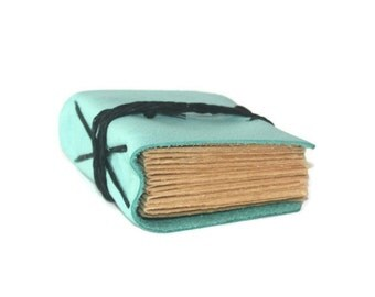 Leather journal, Prayer Book, Bridesmaid Gift, Pocket Notebook, Hostess Gift, Robin's Egg Blue Leather, Small bound book