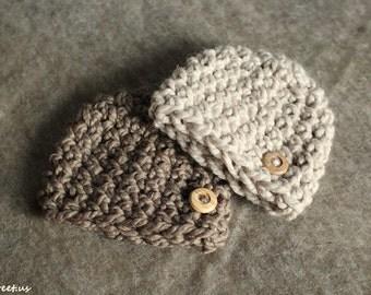 Baby Boy Hat ,Newborn Hat, Baby Boy Crochet Hat , Blue Chunky Crochet Hat with Button, Brown Wool Hat, Newborn Prop, NewbornPhoto Prop