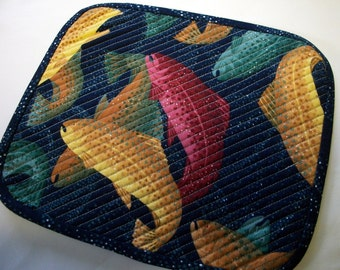 Salmon Fishing Mug Rug Snack Mat Quiltsy Handmade Quilted FREE U.S. Shipping