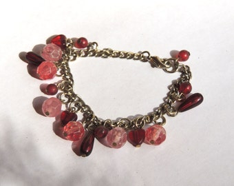 Pink Red Beaded Bracelet Vintage Cha Cha Charm Jewerly